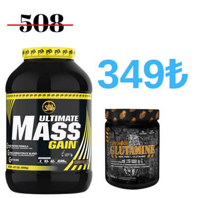 All Stars Ultimate Mass Gain 4.000 Gr + Grenade L-Glutamine 500 Gr